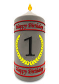 Birthday candle for 1st birthday — Stock Photo
