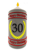 Birthday candle for 30th birthday — Stock Photo