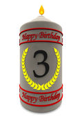 Birthday candle for 3rd birthday — Stock Photo