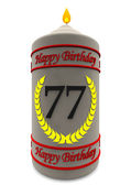 Birthday candle for 77th birthday — Stock Photo