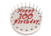 Cream pie for 100th birthday — Stock Photo