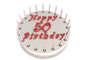 Cream pie for 50th birthday — Stock Photo