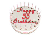 Cream pie for 55th birthday — Stock Photo