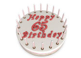 Cream pie for 65th birthday — Stock Photo