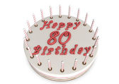 Cream pie for 80th birthday — Stock Photo