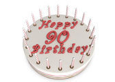 Cream pie for 90th birthday — Stock Photo