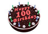 Chocolate cake for 100th birthday — Stockfoto