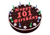 Chocolate cake for 101th birthday — Stock Photo
