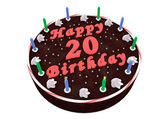 Chocolate cake for 20th birthday — Stock Photo