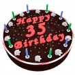 Stock Photo: Chocolate cake for 35th birthday