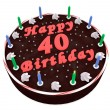 Chocolate cake for 40th birthday — Stock Photo