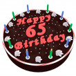 Chocolate cake for 65th birthday — Stock Photo
