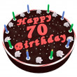 Chocolate cake for 70th birthday — Stock Photo