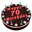 Stock Photo: Chocolate cake for 70th birthday