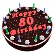图库照片: Chocolate cake for 80th birthday