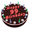 Stock Photo: Chocolate cake for 99th birthday