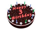3. doğum çikolatalı kek — Stok fotoğraf