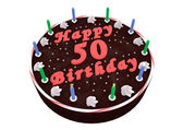 Chocolate cake for 50th birthday — Stock Photo