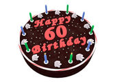 Chocolate cake for 60th birthday — Stock Photo