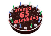 Chocolate cake for 65th birthday — Stock Photo