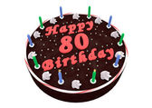 Chocolate cake for 80th birthday — Stock Photo