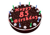 Chocolate cake for 85th birthday — Stock Photo