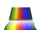 Crayons with wavy color trace — Stock Photo