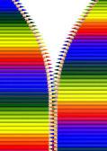 Crayons in open zipper — Stock Photo