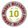 Round happy birthday button with age — Stock Photo