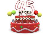 Happy Birthday cream pie with age and lettering — Stock Photo
