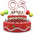 Stock Photo: Happy Birthday cream pie with age and lettering