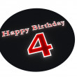 Foto Stock: Happy Birthday with age on black button