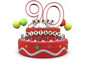 Happy Birthday cream pie with age and lettering — Foto Stock