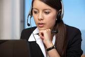 Beautiful business service woman working — Stock Photo
