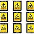 Warning Hazard Signs — Stock Vector