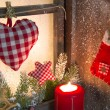 Stock Photo: Handmade Christmas wooden window decoration