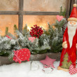 Natural christmas decoration with santa claus — Stock Photo