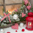 Red rustic christmas decoration — Stock Photo #33585233