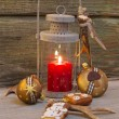 Rustic lantern for christmas with candlelights — Stock Photo #33585445
