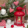 Red lantern with candlelights — Стоковое фото