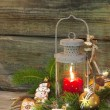 Rustic christmas lantern with candlelights — Photo