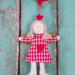 Sewn angel doll hanging — Stock Photo