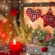 Christmas decoration on window sill — Stock Photo