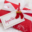 Present box with french text for christmas — Stock Photo