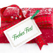 Present box with German text for christmas — Stock Photo