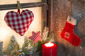 Handmade Christmas wooden window decoration — Stock Photo