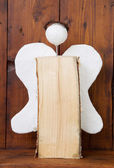 Wooden glory angel for christmas — Stock Photo