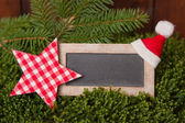 Chalkboard with star and Santa hat — Stock fotografie