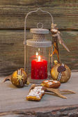 Rustic lantern for christmas with candlelights — Stock Photo
