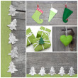 Handicraft christmas decoration in green — Stock Photo